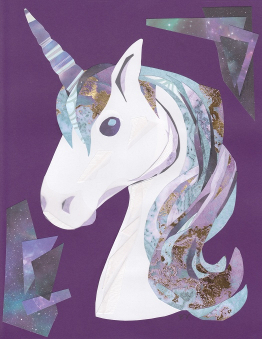 A white unicorn with shades of blue and purple in its mane. Gold and silver foil accents are in it's hair and horn.